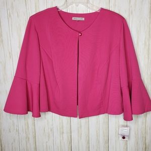 Danny & Nicole 22W Pink Cropped Jacket Bell Sleeve